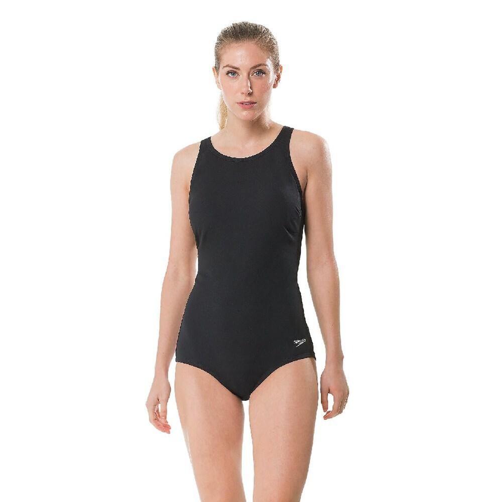 Speedo Womens High Neck Womens Swimsuit Speedo Black 10