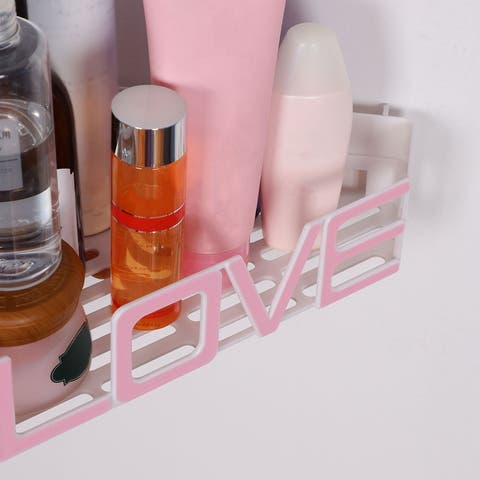 Plastic Suction Wall Corner Rack Bin Water Resistant Love Word Shape