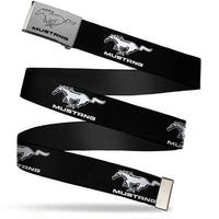 Ford Mustang W Text Brushed Silver Black  Cam Chrome Ford Mustang Black Web Belt