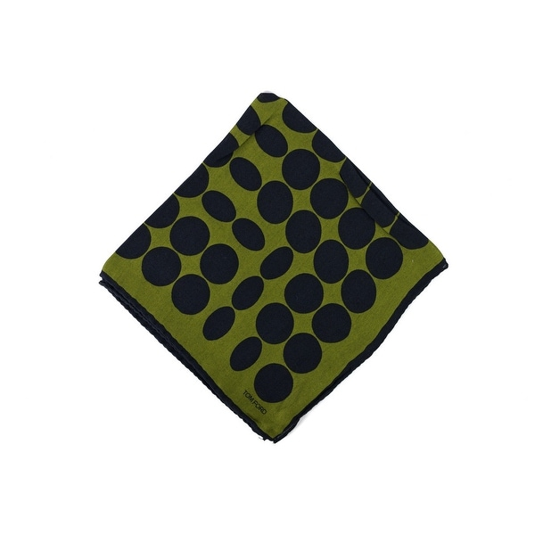 Tom Ford Mens Green Abstract Circle Silk Pocket Square