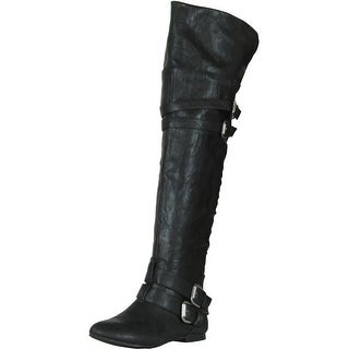 Nature Breeze Vickie-16 Hi Buckle Slouchy Thigh High Boot