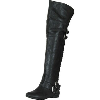 Nature Breeze Vickie-16 Hi Buckle Slouchy Thigh High Boot - Black - 6 b(m) us