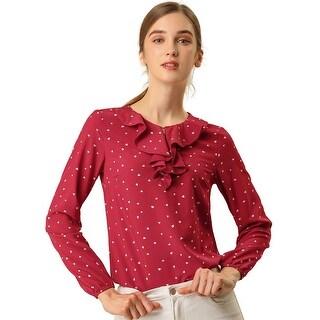 Women's Ruffle Neck Long Sleeve Vintage Polka Dots Tunics Blouse Shirt