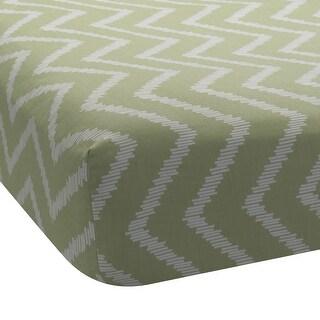 Lambs & Ivy Giraffe Collection Green 100% Cotton Fitted Crib Sheet - Chevron