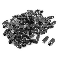 Unique Bargains 100 Pcs 5 Pin Terminals Female 3.5mm Audio Jack Socket Connector Black