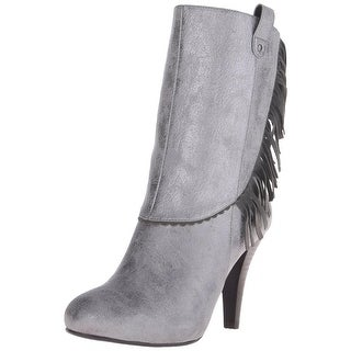 Poetic Licence Womens Pure And Easy Faux Leather Fringe Mid-Calf Boots