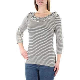MAISON JULES Womens Black Striped Long Sleeve Jewel Neck Top Size: M