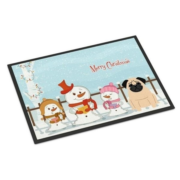 Carolines Treasures BB2339JMAT Merry Christmas Carolers Pug Fawn Indoor or Outdoor Mat 24 x 0.25 x 36 in.