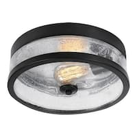 "Globe Electric 69999 Carolina 11"" Wide Flush Mount Ceiling Fixture with Seeded G - Dark bronze"