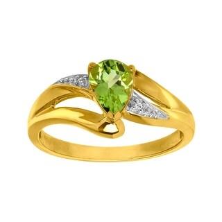 3/4 ct Peridot Ring with Diamond in 10K Gold - Yellow