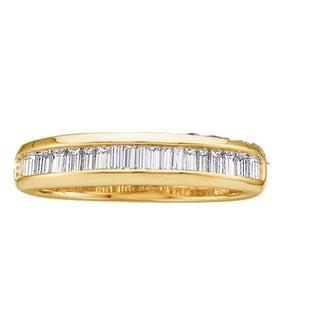 14kt Yellow Gold Womens Baguette Natural Diamond Band Wedding Anniversary Ring 1/4 Cttw - White
