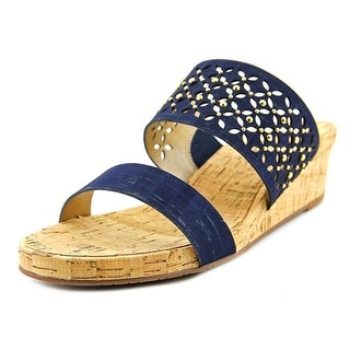 Vaneli Keena Women  Open Toe Canvas Blue Wedge Sandal