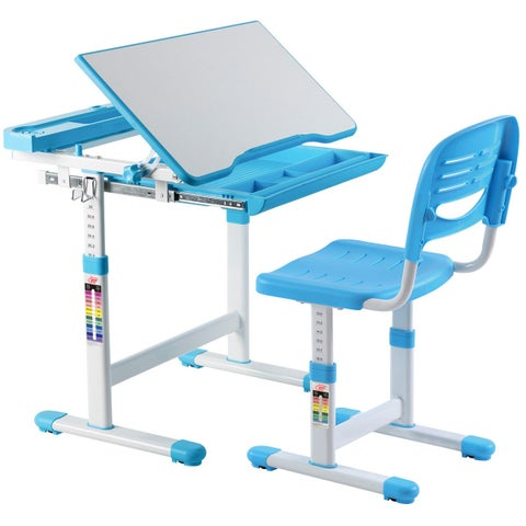 Gymax Height Adjustable Children's Desk Chair Set Multifunctional Study Drawing Blue