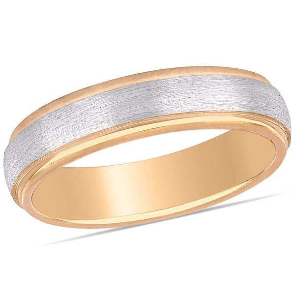 Miadora Ladies Brushed Wedding Band in 2-Tone 10k Rose and White Gold (4mm). Opens flyout.