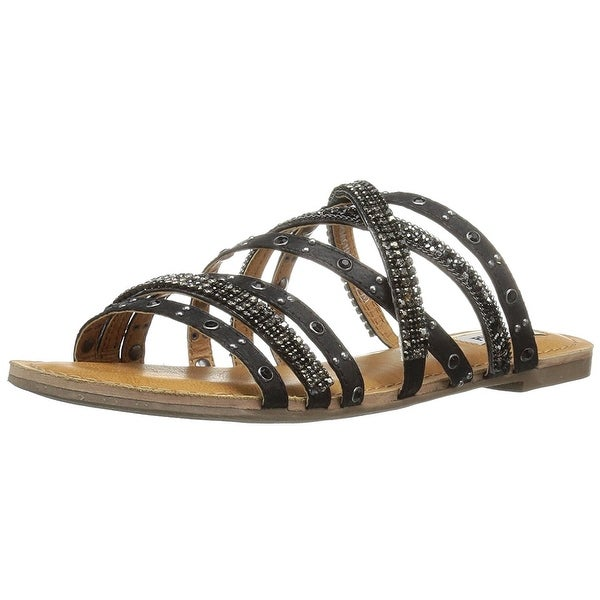 Not Rated Womens Caviar Open Toe Casual Strappy Sandals, Black, Size 8.0