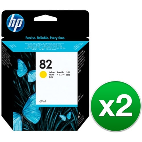 HP 82 69-ml Yellow DesignJet Ink Cartridge (C4913A) (2-Pack)
