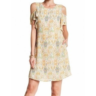 DR2 NEW Yellow Womens Size Large L Cold-Shoulder Printed Sheath Dress