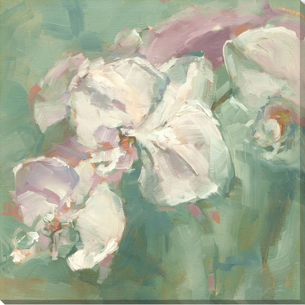 """48"""" x 48"""" Green and White Blossoms Square Canvas Wall Art Decoration - N/A"""