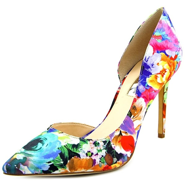 INC International Concepts Kenjay Women Pointed Toe Canvas Multi Color Heels
