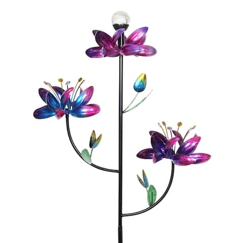 Exhart Triple Kinetic Flower Wind Spinner Garden Stake with Solar Color Changing Crackle Glass Ball, 21 by 70 Inches