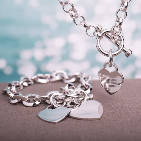 Miadora Sterling Silver Linked-Heart Charm Necklace and Bracelet 2-Piece Set - White