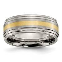Chisel 14k Gold Inlaid Ridged Edge Brushed & Polished Titanium Ring (8.0 mm)