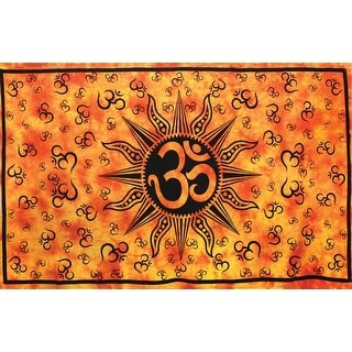 Handmade Cotton Om Sun Orange Tie Dye Indian Tapestry Tablecloth Spread 60x90