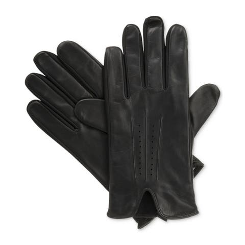 Isotoner Signature Black Mens Size Medium M Leather smarTouch Gloves