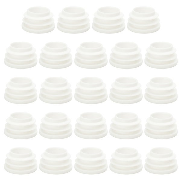 """1"""" 25mm OD Plastic Round Ribbed Tube Insert Pipe End Cover Cap White 24pcs"""