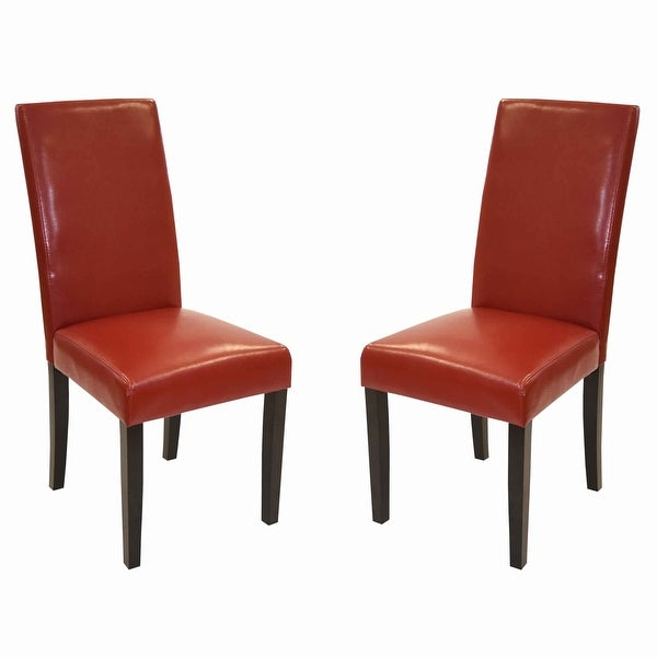 Shop Leatherette Side Chair With Wooden Tapered Legs Set