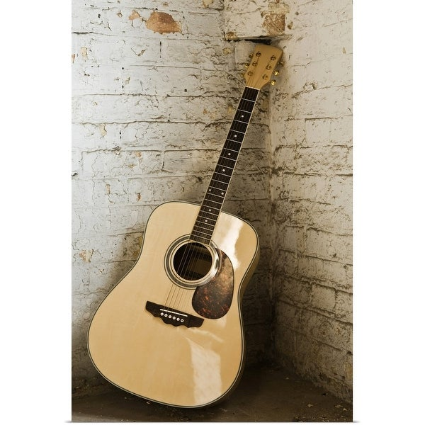 """Guitar leaning against brick wall"" Poster Print"