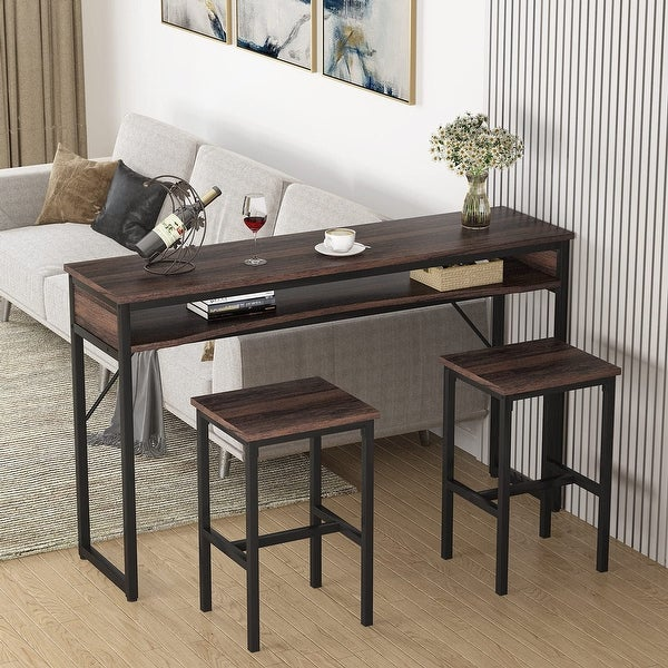 Bar Table Set, Industrial Counter Height Pub Table with 2 Stools, Kitchen Dinning Table for Living Room, Dining Room. Opens flyout.