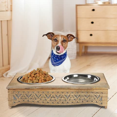 "Handmade Mango Wood Elevated Double Pet Feeder with Engraved Geometric Design - 21"" x 11"" x 5"""