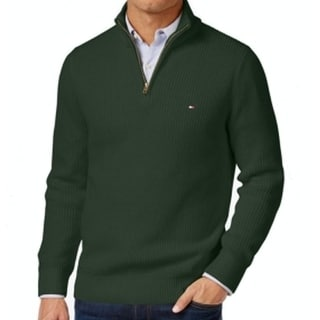 Tommy Hilfiger NEW Green Mens 2XL 1/2 Zip Mock-Neck Ribbed-Knit Sweater