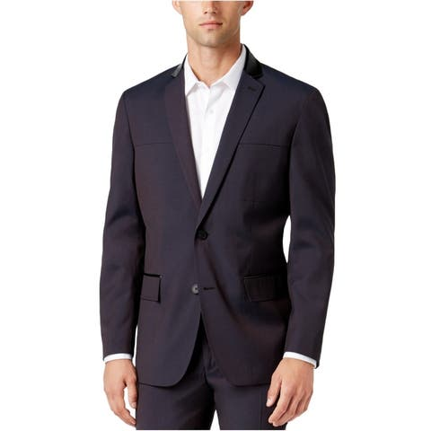 I-N-C Mens Mixed Media Two Button Blazer Jacket, red, Small (Regular)
