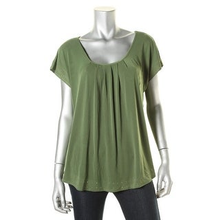 NY Collection Womens Embellished Trim Stretch T-Shirt - L