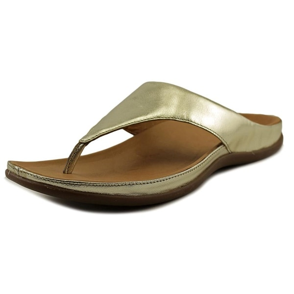 Strive Maui Women Open Toe Leather Gold Flip Flop Sandal
