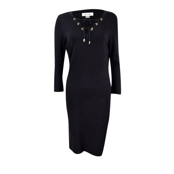 Calvin Klein Womens Plus Size Lace Up Zip Trim Sweater Dress Black 1x
