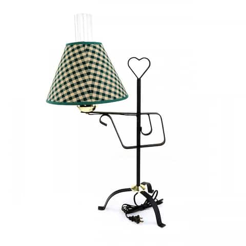 Table Lamp Black Wrought Iron Table Lamp Green Shade 24.5H Renovator's Supply