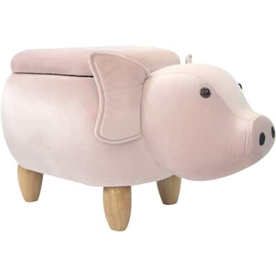 Critter Sitters 15-In. Seat Height Pink Pig Animal Shape Storage Ottoman Furniture, Nursery, Bedroom, Playroom, Living Room