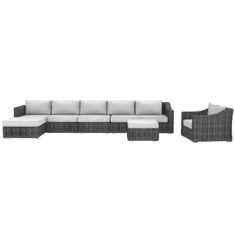 Cozy Corner Patios Luxury Series Garden Furniture  6 Seater Deep Seating Sectional Patio Furniture  6-Piece Outdoor Sectional