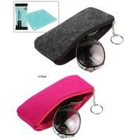 "JE (2 PACK - Pink, Black) Soft Smooth Fabric Zipper Eyeglass / Sunglass Pouch Case (3.5"" x 6.9"") W/Bonus Cleaning Cloth"