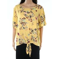Socialite Yellow Womens Size XS Floral Print Tie Front T Shirt Top