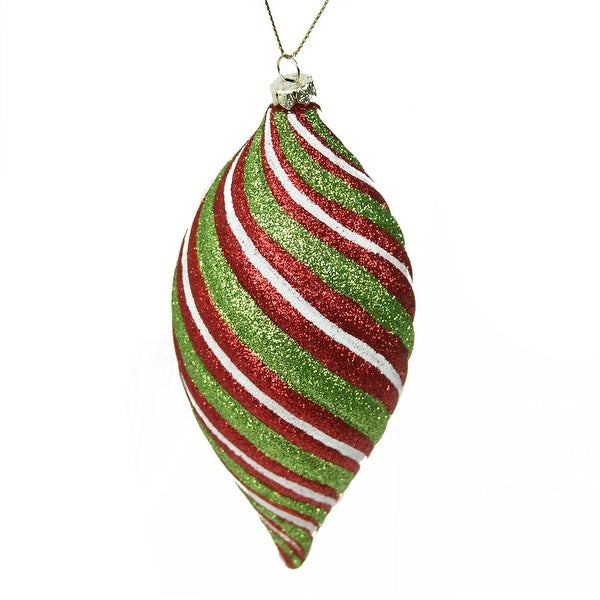 "6"" Merry & Bright Red, White and Green Glitter Swirl Shatterproof Finial Drop Christmas Ornament"