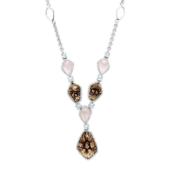 23 ct Natural Quartz, Aquamarine & 5/8 ct Diamond Necklace in Sterling Silver - Smokey