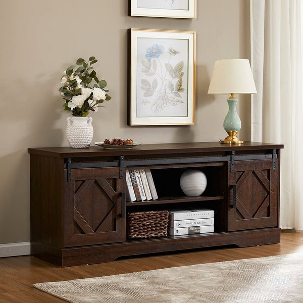 Famhouse Sliding Barn Door Wood TV Stand Storage Cabinet 59 Inch. Opens flyout.