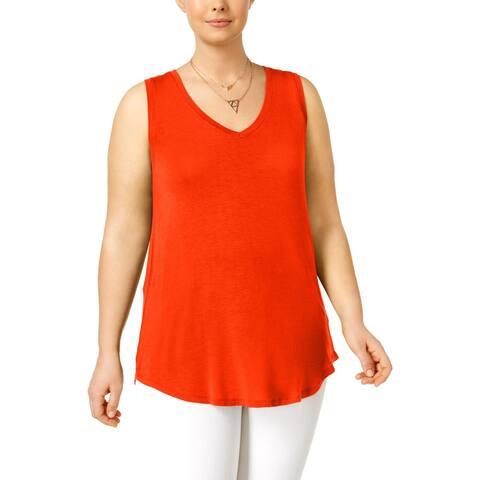Derek Heart Womens Plus Tank Top Knit Sleeveless