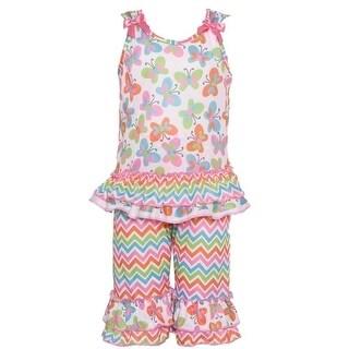 Laura Dare Little Girls Multi Color Butterfly Chevron 2 Pc Pajama Set