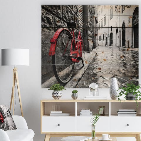 Designart 'Retro Vintage Red Bike' Cityscape Photo Print on Natural Pine Wood - Black