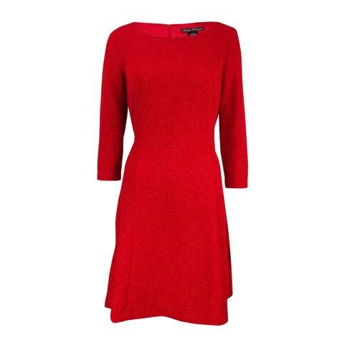 Jessica Howard Women's Glitter A-line Dress - Red